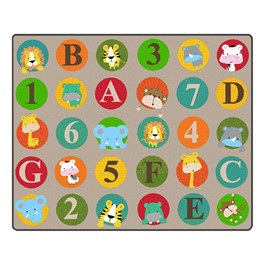 "ABC & 123 Animals Rug (10\' 9"" W x 13\' 2\"" L) - Light"