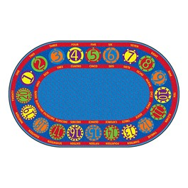 Bilingual Numbers Circles Rug