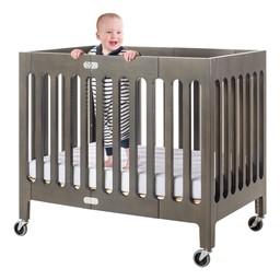 Boutique Folding Wood Compact Crib - Dapper Gray