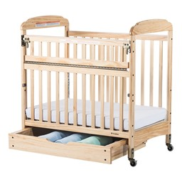 Next Generation Serenity SafeReach Clearview Compact Safety Crib - Natural - Shown w/ Drawer