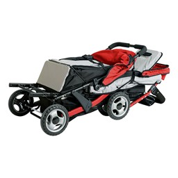 Trio Sport Tandem Stroller - Red - Shown folded