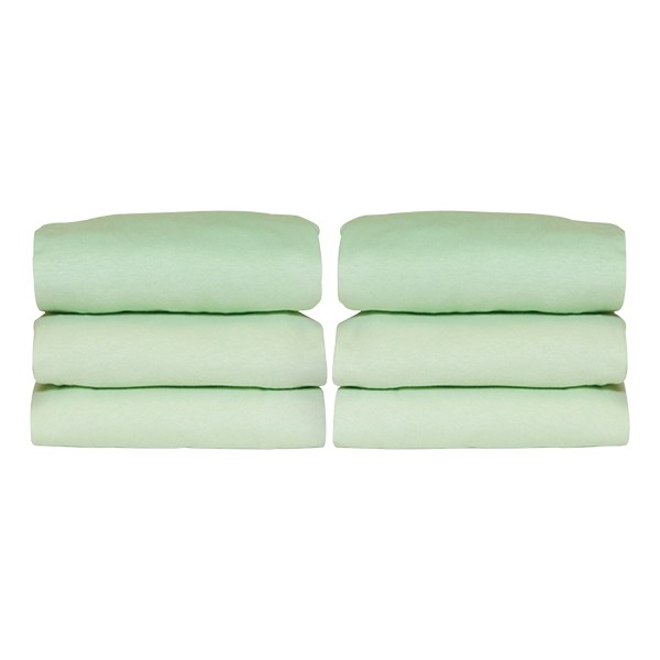 Pack of Six SafeFit Elastic Fitted Crib Sheets - Full-Size - Mint Green