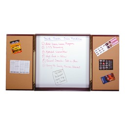 Double-Door Conference Cabinet w/ Magnetic Markerboard & Mahogany Finish