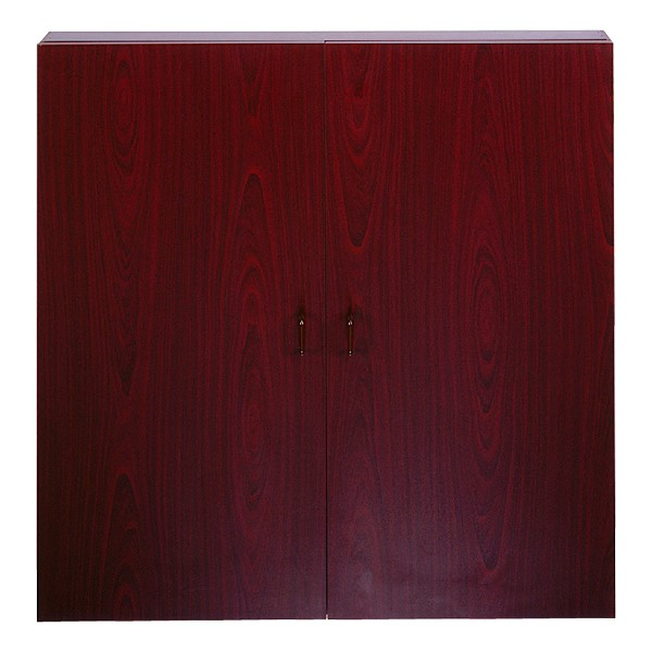 Double-Door Conference Cabinet w/ Magnetic Markerboard & Mahogany Finish<br>Shown closed