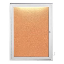 Concealed Lighting Enclosed Bulletin Board - One Door