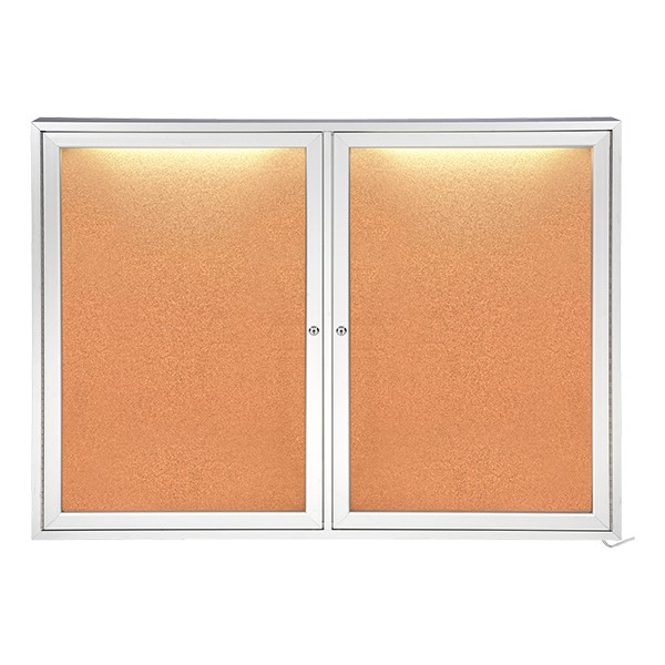 Concealed Lighting Enclosed Bulletin Board - Shown w/ Two Doors