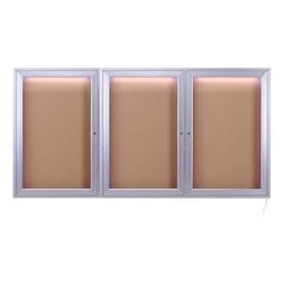 Concealed Lighting Enclosed Bulletin Board - Three Doors