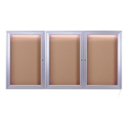 Concealed Lighting Enclosed Bulletin Board - Three Doors