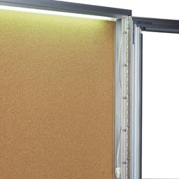 Concealed Lighting Enclosed Bulletin Board - Fluorescent lighting shown