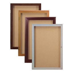 Enclosed Bulletin Boards w/ One Door - Frame & Color Options