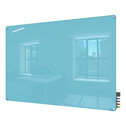 Harmony Colors Magnetic Glass Whiteboard w/ Radius Corners - Blue