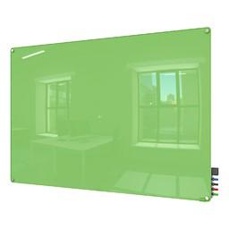 Harmony Colors Magnetic Glass Whiteboard w/ Radius Corners - Green