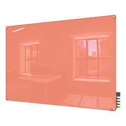 Harmony Colors Magnetic Glass Whiteboard w/ Radius Corners - Peach