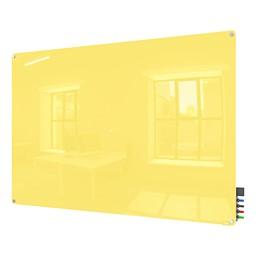 Harmony Colors Magnetic Glass Whiteboard w/ Radius Corners - Yellow