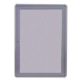 Ovation Radius Enclosed Fabric Tack Board - One Hinged Door w/ Acrylic Panel & Gray Frame