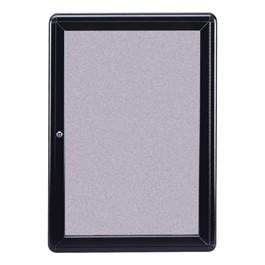 Ovation Radius Fabric Tack Board - One Hinged Door w/ Acrylic Panel & Black