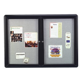 Ovation Radius Enclosed Fabric Tack Board - Two Hinged Doors w/ Acrylic Panels & Black Frame