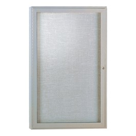 Enclosed Fabric Tack Board w/ One Door - Satin Aluminum Frame