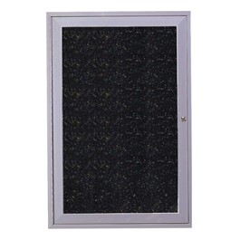 Enclosed Rubber-Tak Tackboard w/ One Door & Satin Aluminum Frame