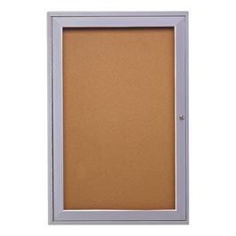 Enclosed Bulletin Board w/ One Door & Satin Aluminum Frame