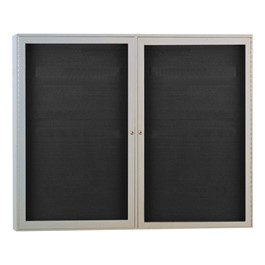 Enclosed Letter Board w/ Two Doors & Satin Aluminum Frame