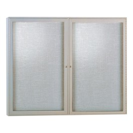 Enclosed Fabric Tack Board w/ Two Doors & Satin Aluminum Frame