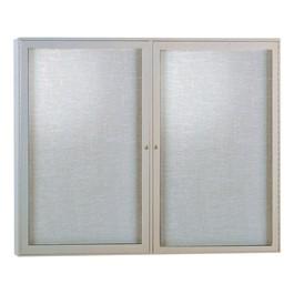 Enclosed Fabric Tack Board w/ Two Doors & Satin Aluminum Frame