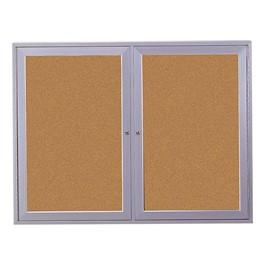 Indoor Enclosed Bulletin Board w/ Two Doors & Satin Aluminum Frame