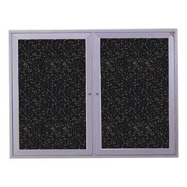 Enclosed Rubber-Tak Tackboard w/ Two Doors & Satin Aluminum Frame