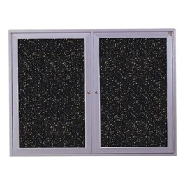 Enclosed Rubber-Tak Tackboard w/ Two Doors & Satin Aluminum Frame