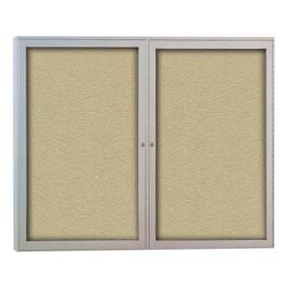 Outdoor/Indoor Enclosed Bulletin Board w/ Two Doors & Satin Aluminum Frame