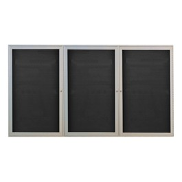 Outdoor/Indoor Enclosed Letter Board w/ Three Doors & Satin Aluminum Frame