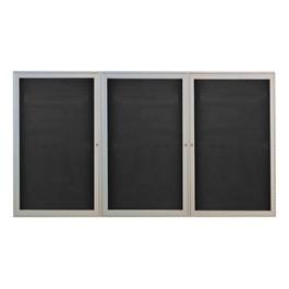 Outdoor/Indoor Enclosed Letter Board w/ Three Doors & Satin Aluminum Frame