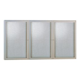 Enclosed Fabric Tack Board w/ Three Doors & Satin Aluminum Frame