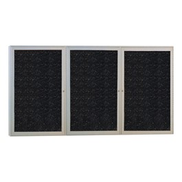 Enclosed Rubber-Tak Tackboard w/ Three Doors & Satin Aluminum Frame