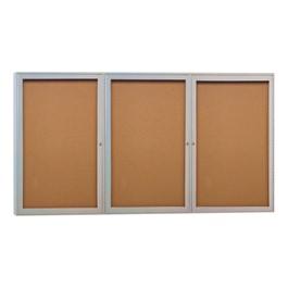 Enclosed Bulletin Board w/ Three Doors & Satin Aluminum Frame