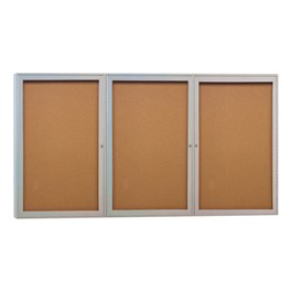 Enclosed Bulletin Board w/ Three Doors & Satin Aluminum Frame