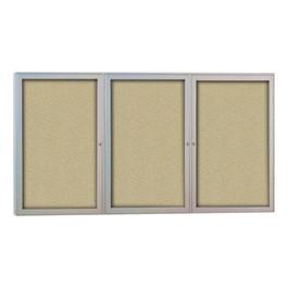 Outdoor/Indoor Enclosed Bulletin Board w/ Three Doors & Satin Aluminum Frame
