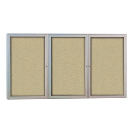 Outdoor/Indoor Enclosed Bulletin Board w/ Three Doors & Satin Aluminum Frame
