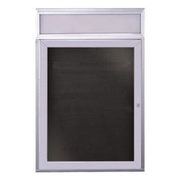 Letter Board w/ Header, One Door & Satin Aluminum Frame