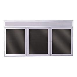Letter Board w/ Header, Three Doors & Satin Aluminum Frame