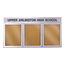Enclosed Bulletin Board w/ Header, Three Doors & Satin Aluminum Frame