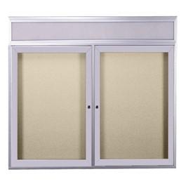 Enclosed Bulletin Board w/ Header, Two Doors & Satin Aluminum Frame
