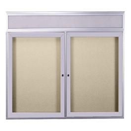 Enclosed Bulletin Board w/ Lighted Header, Two Doors & Satin Aluminum Frame