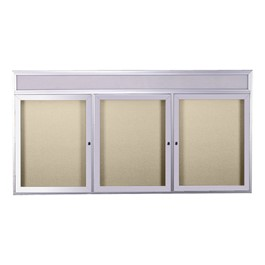 Enclosed Bulletin Board w/ Header, Three Doors & Satin Aluminum Frame