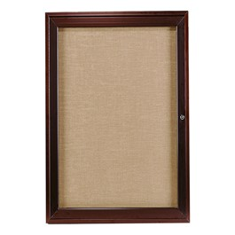 Enclosed Fabric Tack Board w/ One Door - Dark Bronze Aluminum Frame