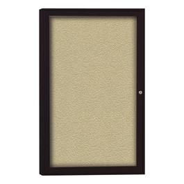 Enclosed Bulletin Board w/ One Door & Dark Bronze Aluminum Finish