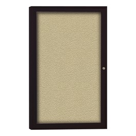 Enclosed Bulletin Board w/ One Door & Dark Bronze Aluminum Frame