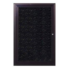 Enclosed Rubber Tackboard w/ One Door & Dark Bronze Aluminum Frame