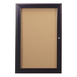 Enclosed Bulletin Board w/ One Door & Dark Bronze Aluminum Frame
